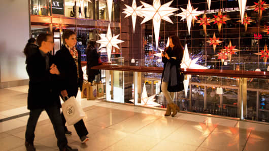 Holiday shoppers at the Time Warner Center in New York.