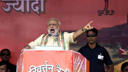 Prime Minister Narendra Modi addresses a public rally ahead of the upcoming Bihar elections on September 1, 2015 in Bhagalpur, India. Prime Minister Modi delivered his fourth and final Parivartan rally speech before the declaration of dates of Bihar assembly elections. He launched a s