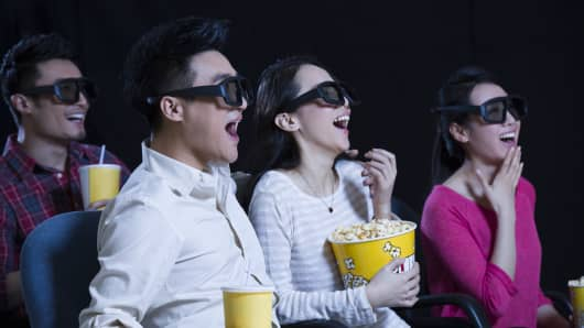 Movie screening in a cinema in China.