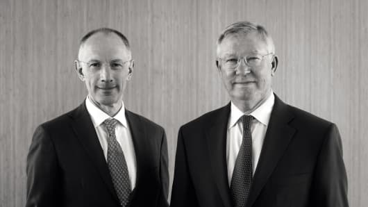 Sir Michael Moritz, left, and Sir Alex Ferguson
