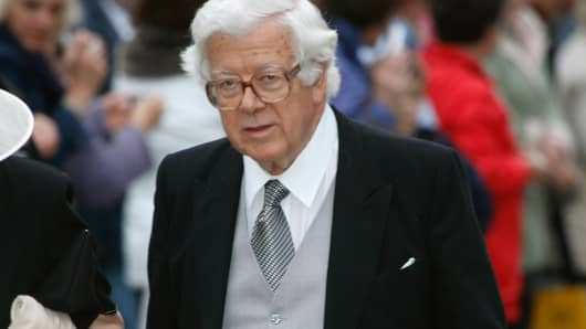 Geoffrey Howe during Laura Parker Bowles and Harry Lopes - Wedding at St Cyriac's Church in Lacock, Great Britain.