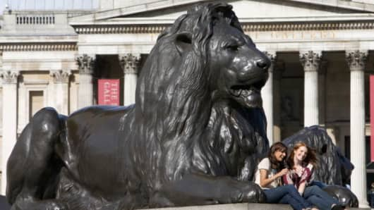 Lion statue in Trafalgar Square, London