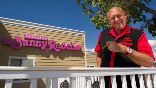 Dennis Hof, outside the Moonlight Bunny Ranch in Carson City, Nevada.
