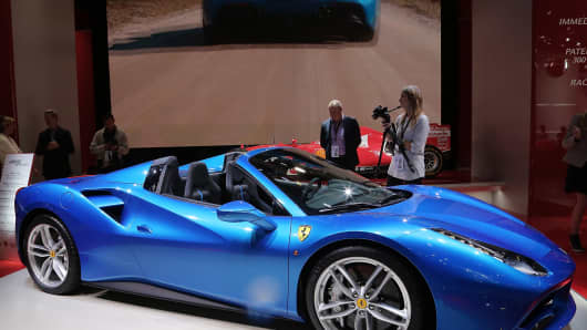 The new Ferrari 488 Spider at the 2015 IAA Frankfurt Auto Show September 16, 2015 in Frankfurt, Germany.