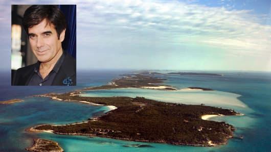 Musha Cay, the Bahamas and David Copperfield (inset)
