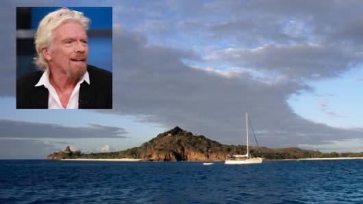Necker Island and Richard Branson (inset)