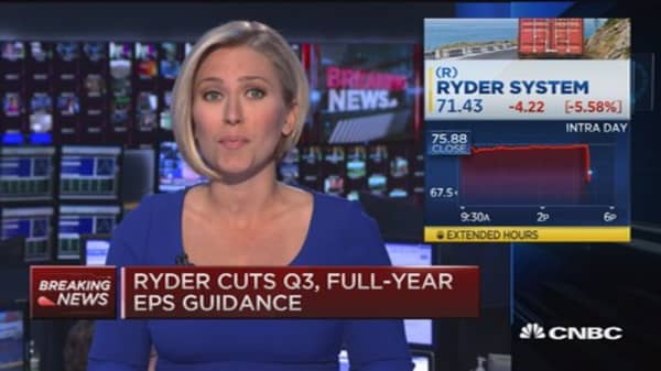 Ryder plunges after earnings warning