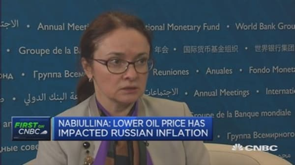 Lower oil prices have hit inflation: Russian Central Bank governor