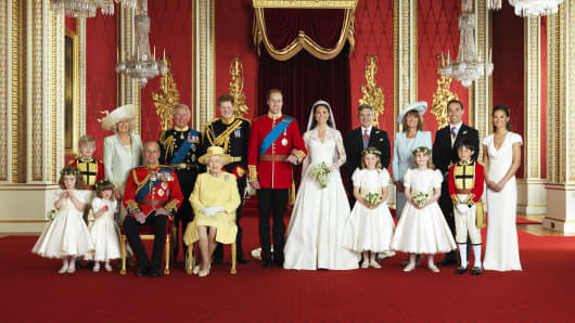 British Royal Family at the wedding of the Duke and Duchess of Cambridge, William and Kate.