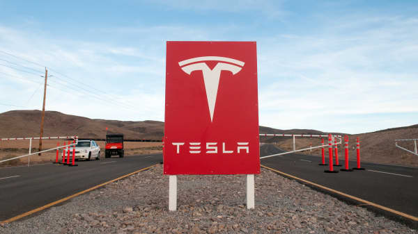 Security gate outside the Tesla Motors Gigafactory site east of Reno, Nevada.