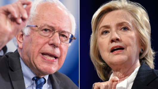 Democratic candidates Bernie Sanders and Hillary Clinton.