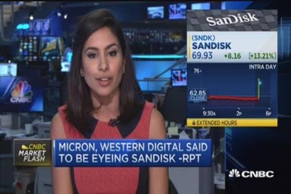 SanDisk shares pop on deal talks