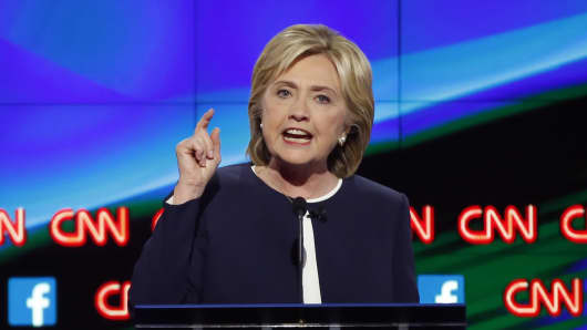 Democratic U.S. presidential candidate former Secretary of State Hillary Clinton speaks during the first official Democratic candidates debate of the 2016 presidential campaign in Las Vegas, Nevada October 13, 2015.