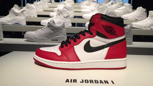 Air Jordan shoes on display at the Nike headquarters showroom.