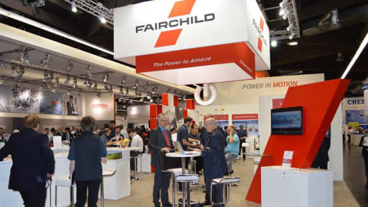 A Fairchild Semiconductor display at a trade show.