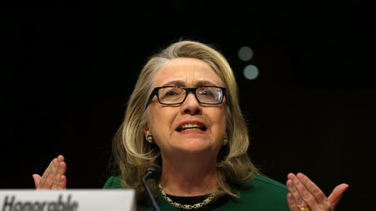 Hillary Clinton testifies before the Senate Foreign Relations Committee about the Sept. 11, 2012, attacks against the U.S. mission in Benghazi, Libya, Jan. 23, 2013.