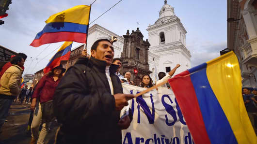 Opponents demonstrate against the government of Ecuadorean President Rafael Correa in Quito on Sept. 16, 2015.