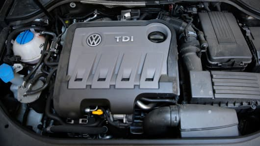 A Volkswagen Passat TDI diesel engine is seen in central London, Britain September 30, 2015.