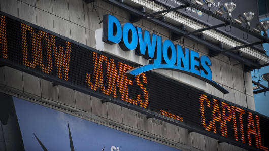 The Dow Jones news ticker in Times Square in New York.