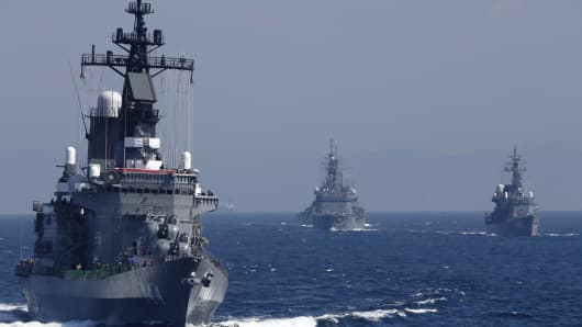 Japanese warships at sea.