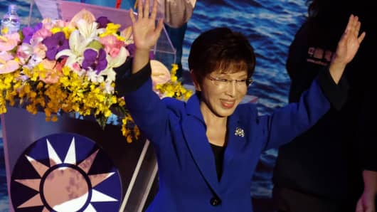 Hung Shiu-chu, former ruling Kuomintang (KMT) presidential candidate, waves during the party congress in Taipei on October 17, 2015. Taiwan's ruling Kuomintang (KMT) ousted its own presidential candidate as the deeply divided party struggles for public support ahead of the vote
