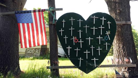 A memorial near the Sandy Hook Firehouse on Riverside Road in Sandy Hook, CT.