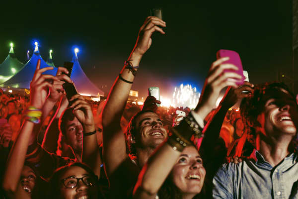 Crowd with phones during a concert