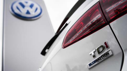 A Golf diesel car is seen at a Volkswagen dealer.