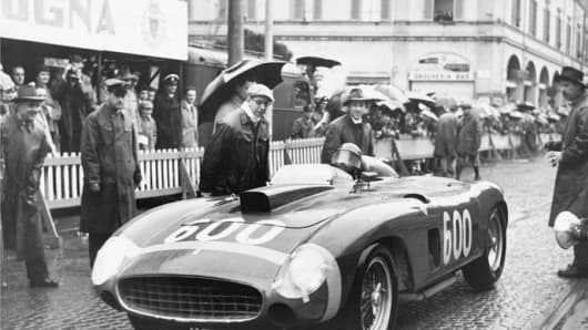 Juan Manual Fangio competing during the 1956 Mille Miglia