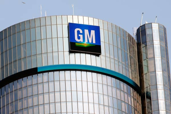 The General Motors logo on the world headquarters building in Detroit.