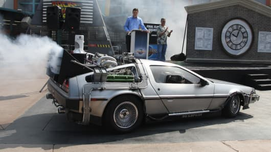 A DeLorean automobile designed to look like the one used in the 1985 movie 'Back To The Future' is parked on a downtown side street on September 14, 2013, in Reno, Nevada.