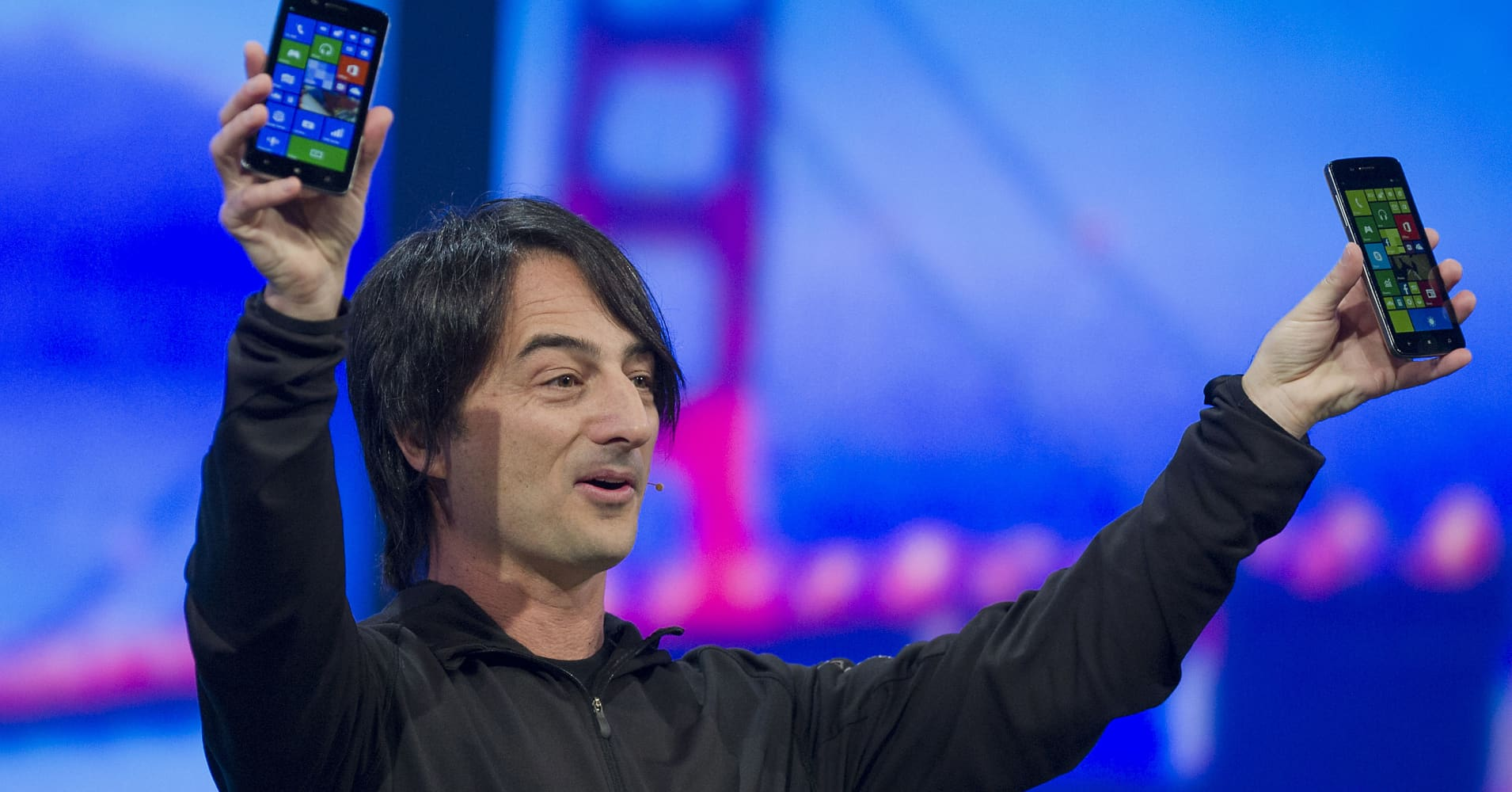Microsoft executive Joe Belfiore presents at the Build developers conference in San Francisco in 2014.