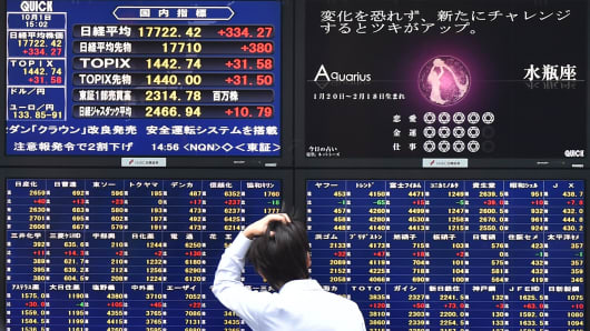 A man looks at an electronic board showing the numbers on the Nikkei 225 at the Tokyo Stock Exchange in Tokyo.