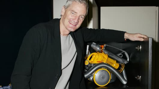 Sir James Dyson with one of his Dyson inventions.