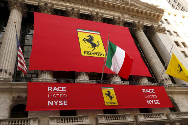 Ferrari banners outside the New York Stock Exchange October 21, 2015.