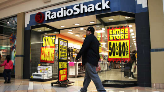 A RadioShack location going out of business in Laguna Hills, California.