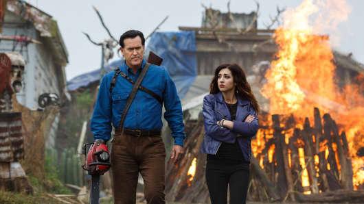 """Bruce Campbell and Dana DeLorenzo in """"Ash vs. Evil Dead"""""""