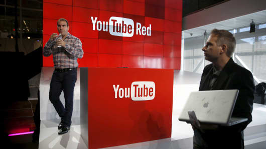 YouTube unveils their new paid subscription service at the YouTube Space LA in Playa Del Rey, Los Angeles, October 21, 2015.