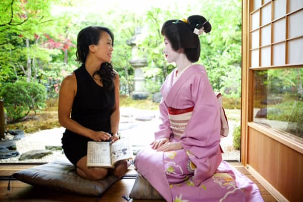 Beauty entrepreneur Vicky Tsai chats with a geisha.