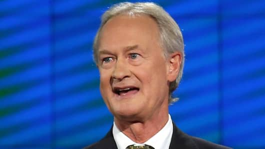 Lincoln Chafee takes part in the presidential debate in Las Vegas on October 13, 2015.