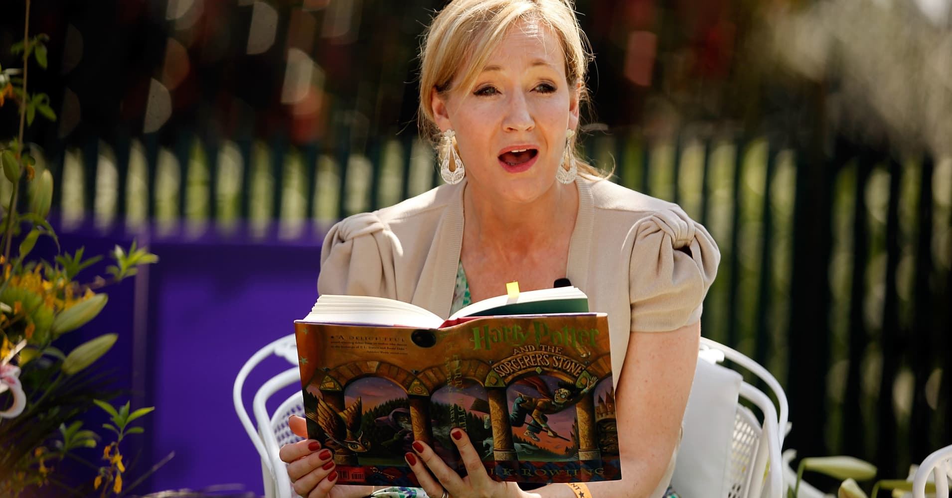British author J.K. Rowling, creator of the Harry Potter fantasy series.