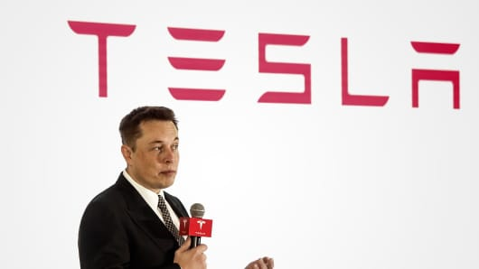 Elon Musk, chairman, CEO and product architect of Tesla Motors, addresses a press conference on October 23, 2015, in Beijing to declare that the company will release its v7.0 system in China on a limited basis for its Model S.