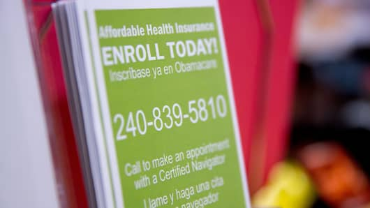 An Obamacare enrollment informational pamphlet sits on display at a Community Clinic Inc. health center in Silver Spring, Maryland.