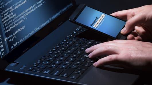 Hacking mobile phone laptop