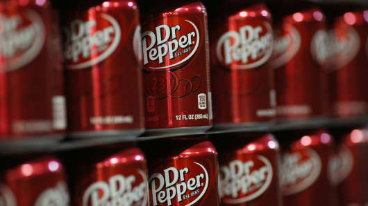 Dr Pepper soda in the warehouse at the Dr Pepper Snapple Group bottling plant in Louisville, Kentucky, in April 2015.