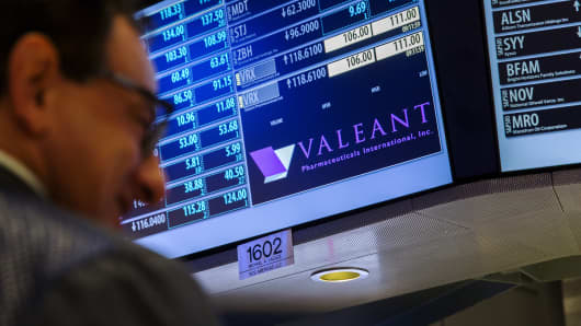 Traders work on the floor of the New York Stock Exchange underneath a board showing the name of Valeant Pharmaceuticals shortly before the opening of the markets in New York October 22, 2015.