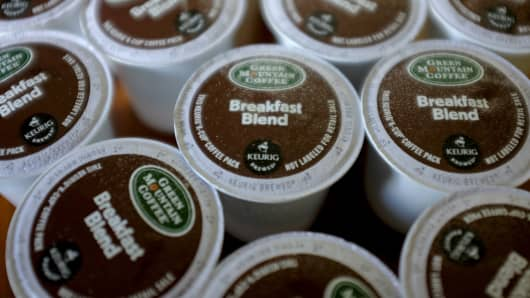 Keurig Green Mountain Inc. K-Cup coffee packs.