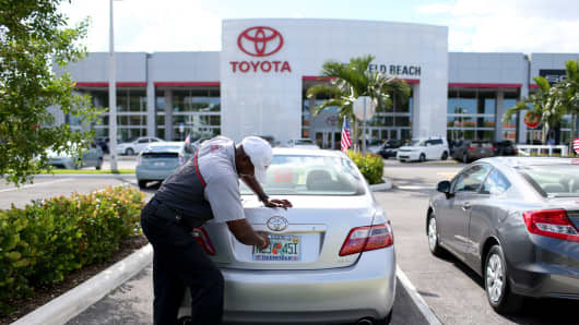 A Toyota dealership in Deerfield Beach, Florida.