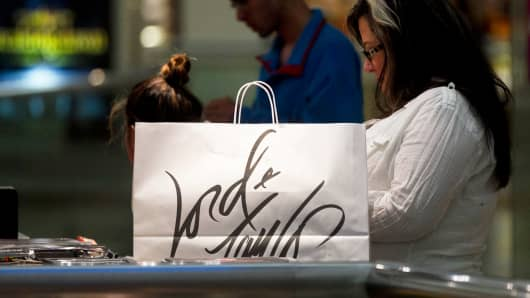 A Lord & Taylor shopping bag at a mall in Fairfax, Virginia.