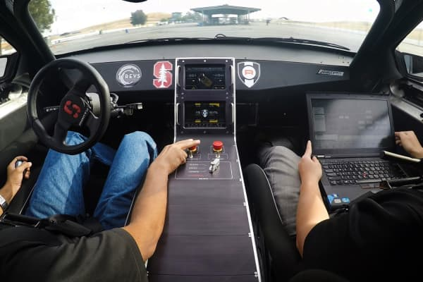 Inside Marty, Stanford University's self-driving DeLorean.